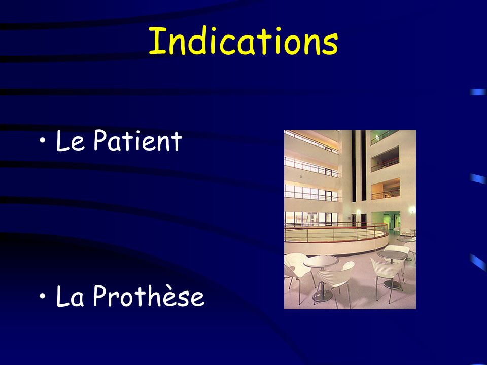 Indications Le Patient La Prothèse