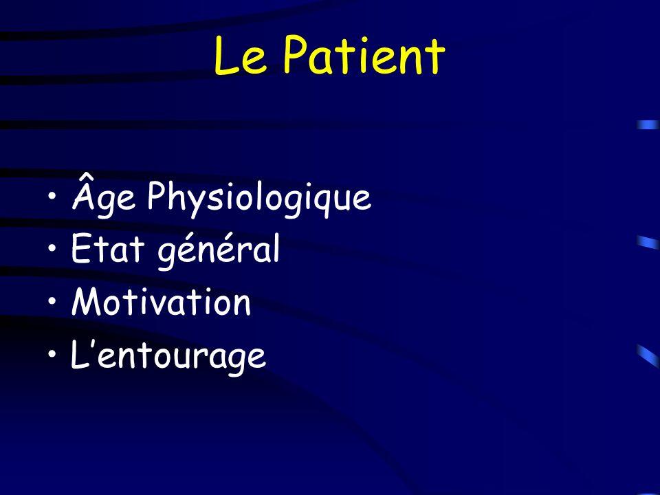 Le Patient Âge Physiologique Etat général Motivation L'entourage