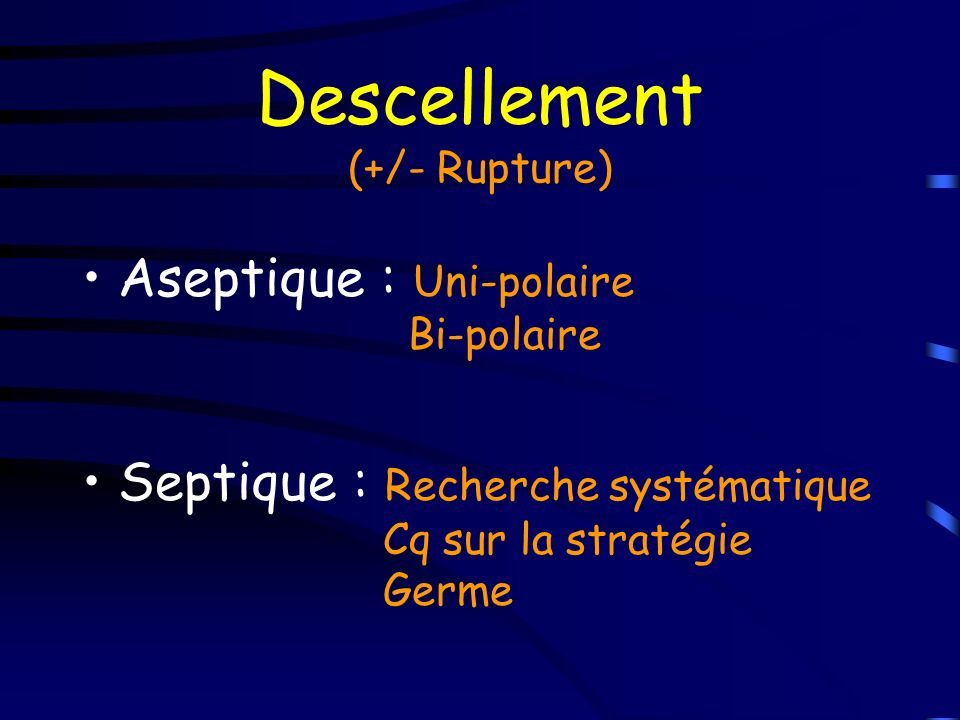 Descellement (+/- Rupture)