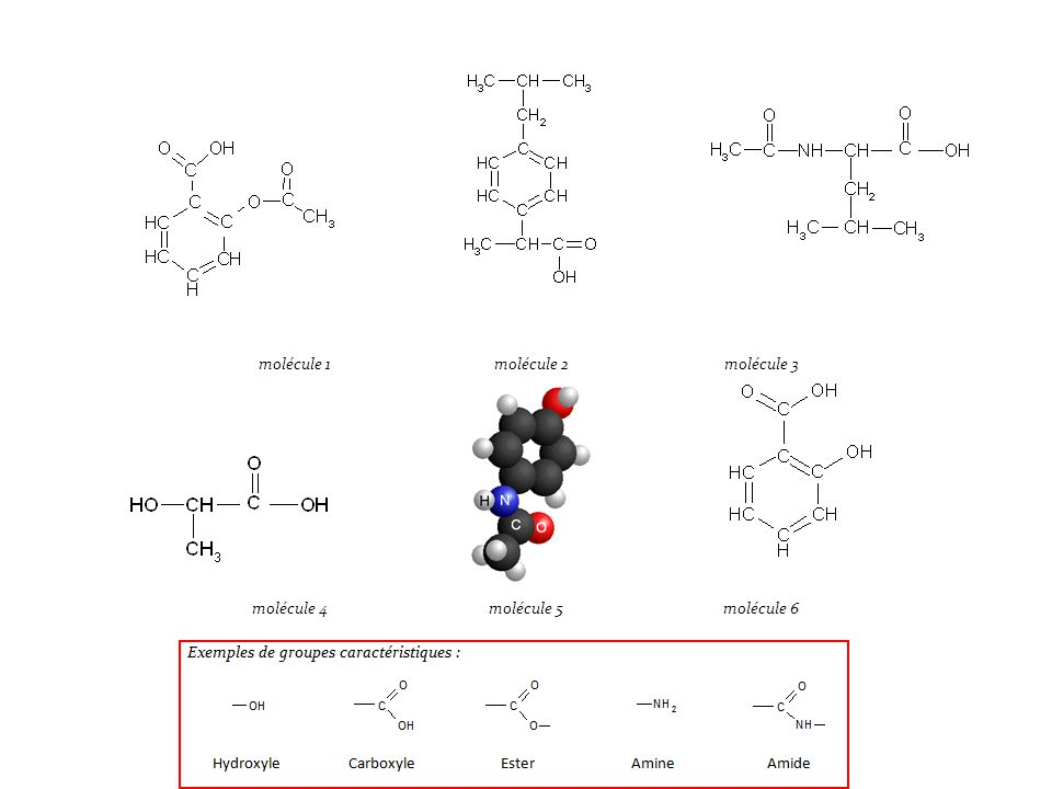 L'aspirine a un groupe carboxyle et ester : molécule 1