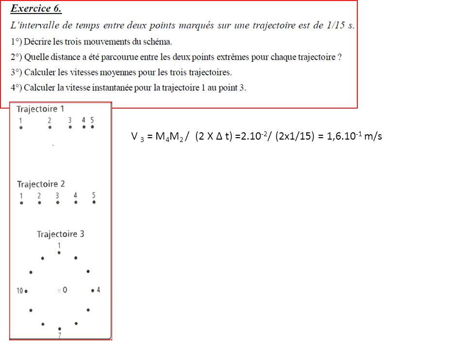 V 3 = M4M2 / (2 X Δ t) =2.10-2/ (2x1/15) = 1,6.10-1 m/s