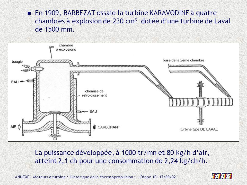 En 1909, BARBEZAT essaie la turbine KARAVODINE à quatre chambres à explosion de 230 cm3 dotée d'une turbine de Laval de 1500 mm.