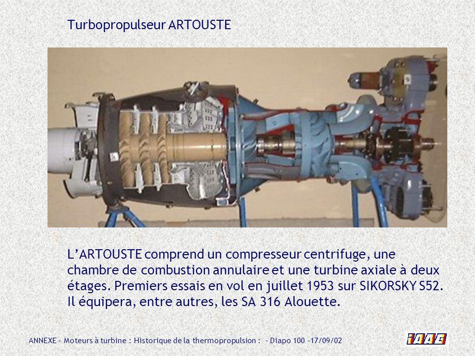 Turbopropulseur ARTOUSTE L'ARTOUSTE comprend un compresseur centrifuge, une chambre de combustion annulaire et une turbine axiale à deux étages.