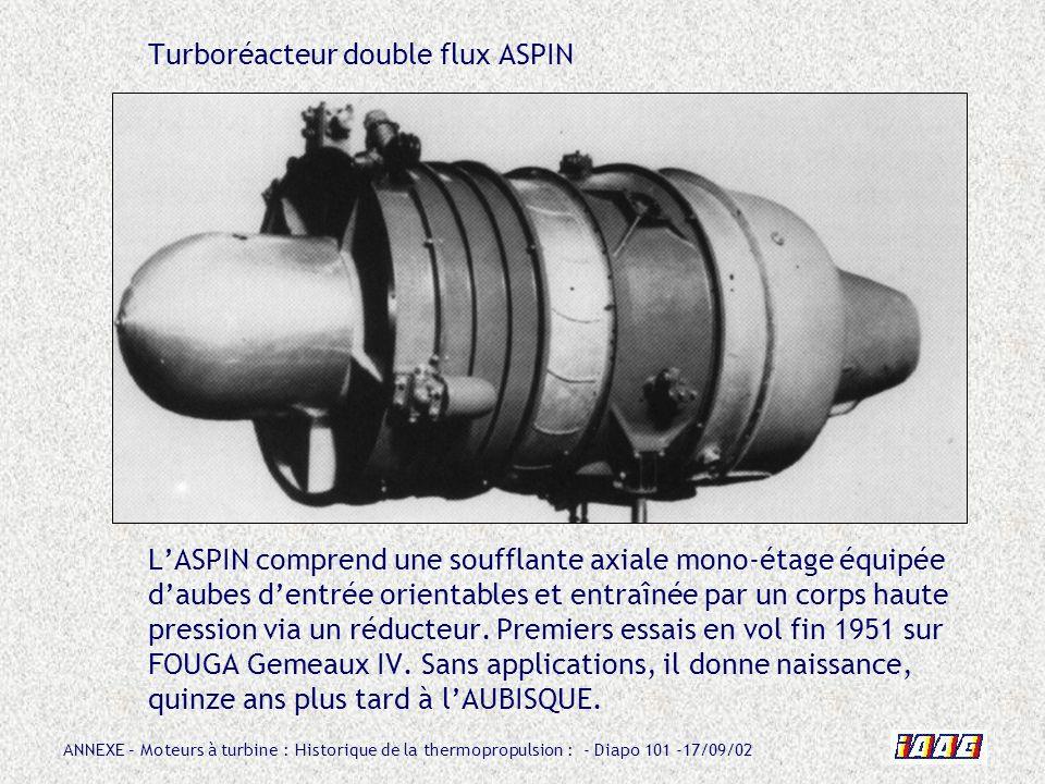 Turboréacteur double flux ASPIN L'ASPIN comprend une soufflante axiale mono-étage équipée d'aubes d'entrée orientables et entraînée par un corps haute pression via un réducteur.