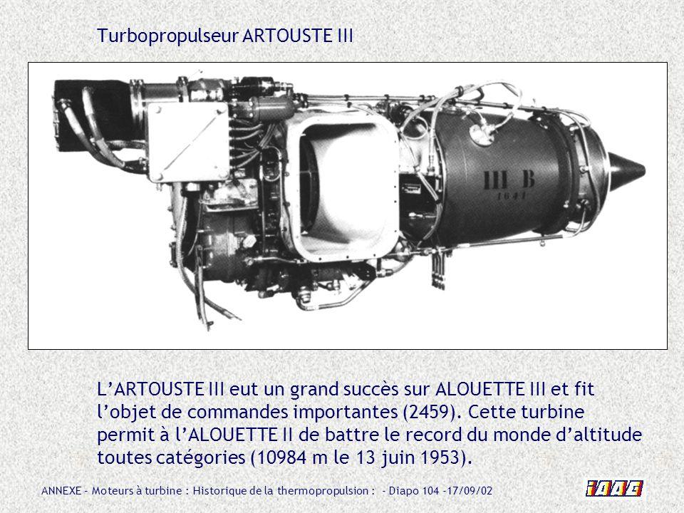 Turbopropulseur ARTOUSTE III L'ARTOUSTE III eut un grand succès sur ALOUETTE III et fit l'objet de commandes importantes (2459).