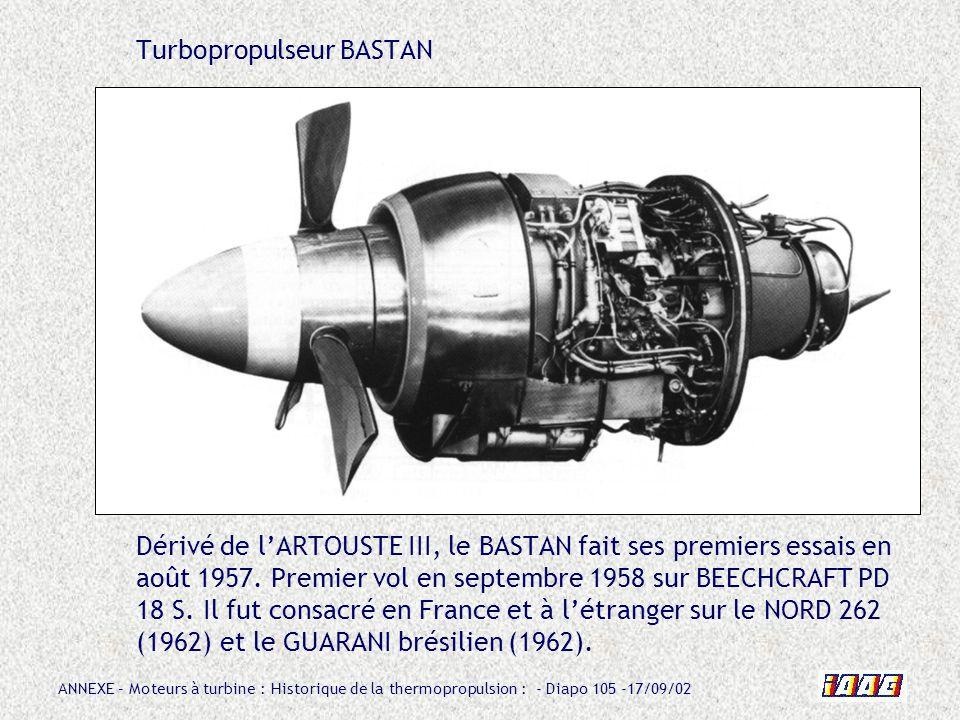 Turbopropulseur BASTAN Dérivé de l'ARTOUSTE III, le BASTAN fait ses premiers essais en août 1957.