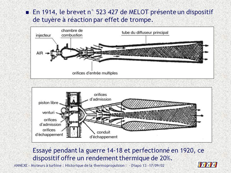 En 1914, le brevet n° 523 427 de MELOT présente un dispositif de tuyère à réaction par effet de trompe.