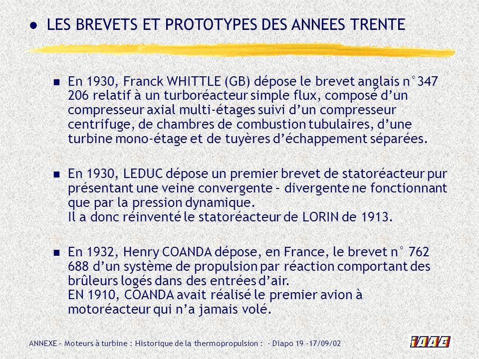 LES BREVETS ET PROTOTYPES DES ANNEES TRENTE