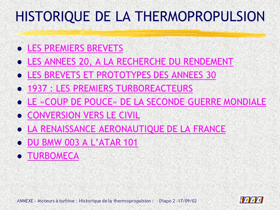 HISTORIQUE DE LA THERMOPROPULSION