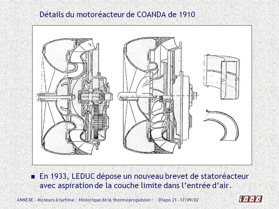 Détails du motoréacteur de COANDA de 1910