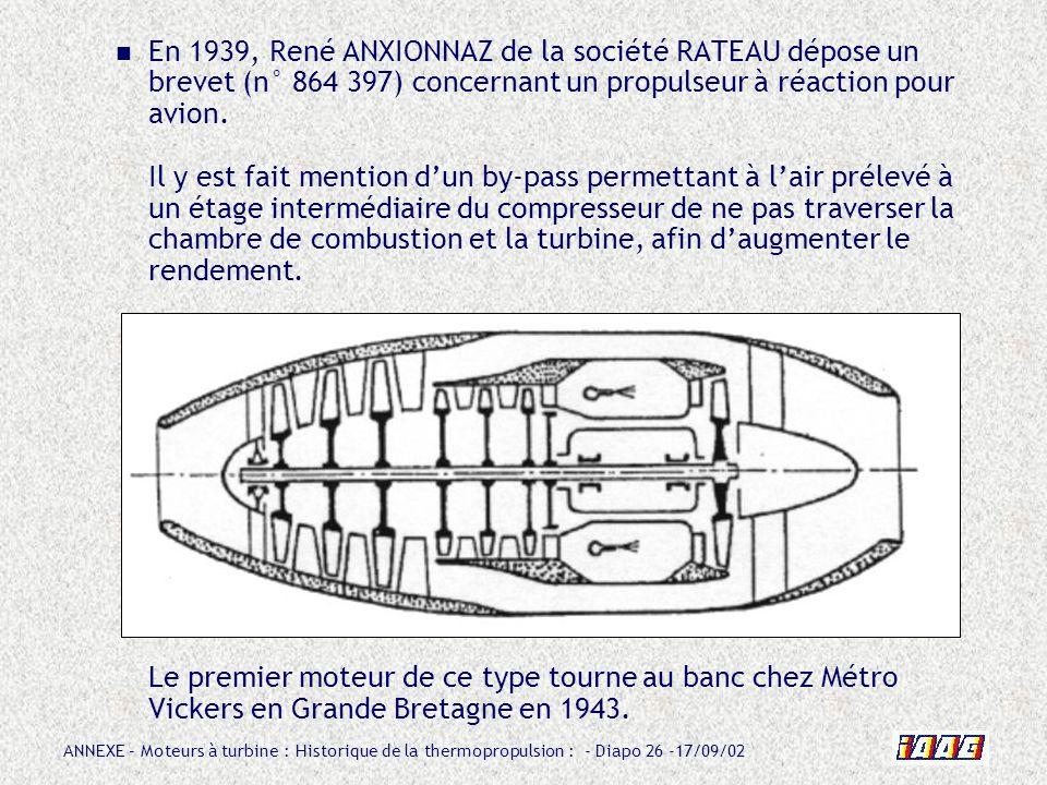 En 1939, René ANXIONNAZ de la société RATEAU dépose un brevet (n° 864 397) concernant un propulseur à réaction pour avion. Il y est fait mention d'un by-pass permettant à l'air prélevé à un étage intermédiaire du compresseur de ne pas traverser la chambre de combustion et la turbine, afin d'augmenter le rendement.