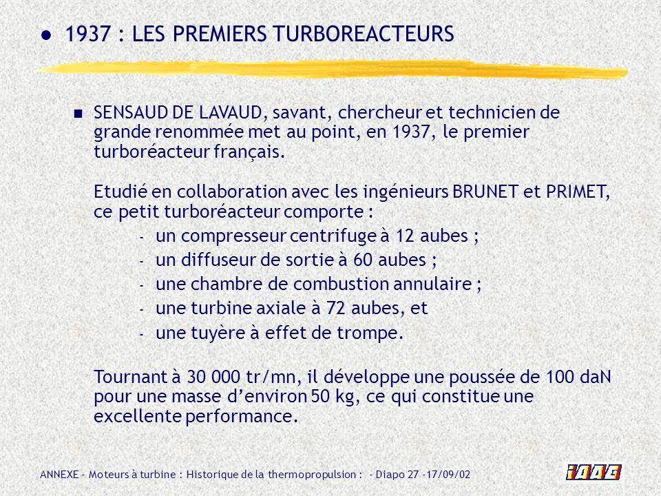 1937 : LES PREMIERS TURBOREACTEURS
