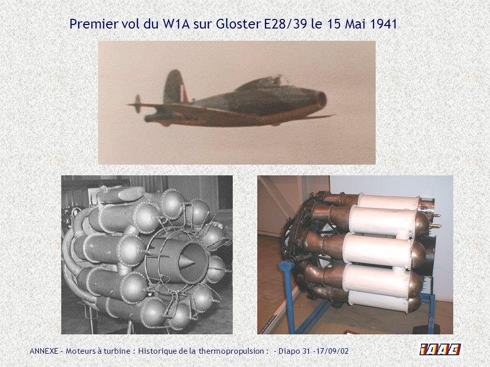 Premier vol du W1A sur Gloster E28/39 le 15 Mai 1941