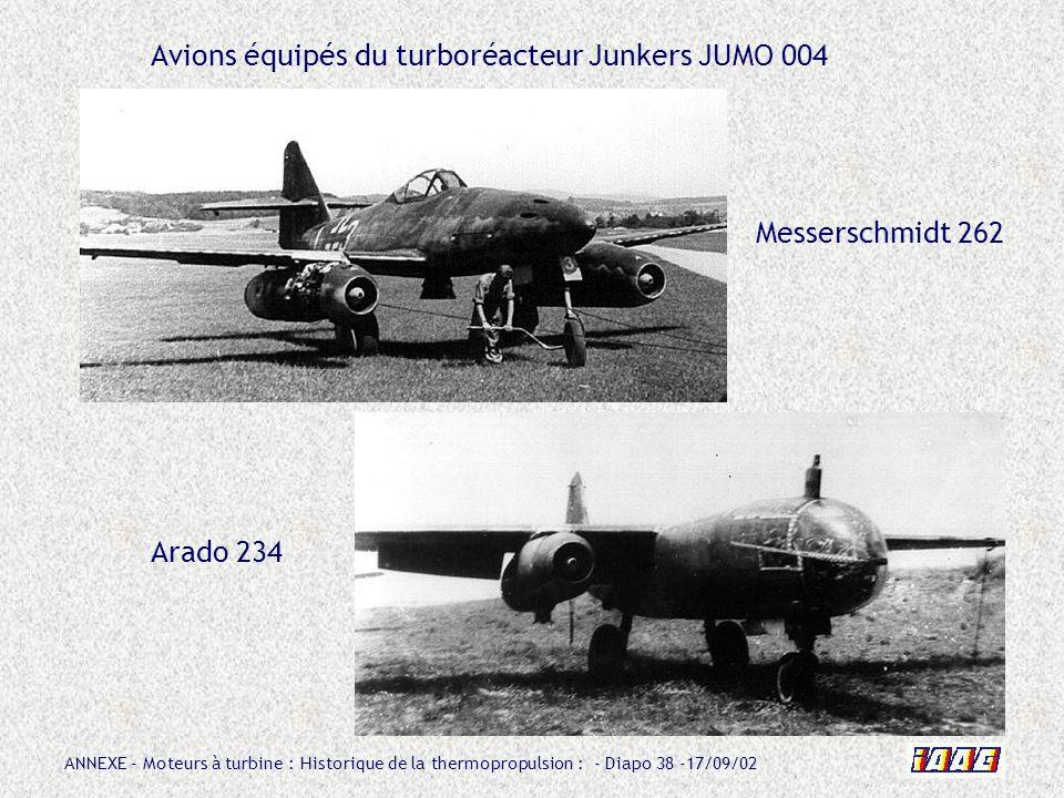 Avions équipés du turboréacteur Junkers JUMO 004