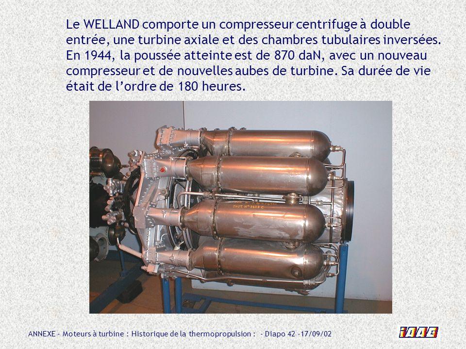 Le WELLAND comporte un compresseur centrifuge à double entrée, une turbine axiale et des chambres tubulaires inversées.