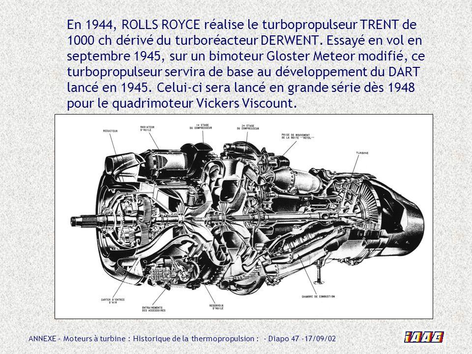 En 1944, ROLLS ROYCE réalise le turbopropulseur TRENT de 1000 ch dérivé du turboréacteur DERWENT.