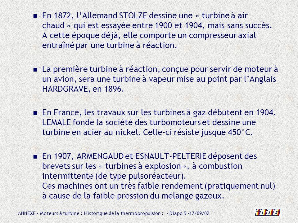En 1872, l'Allemand STOLZE dessine une « turbine à air chaud » qui est essayée entre 1900 et 1904, mais sans succès. A cette époque déjà, elle comporte un compresseur axial entraîné par une turbine à réaction.