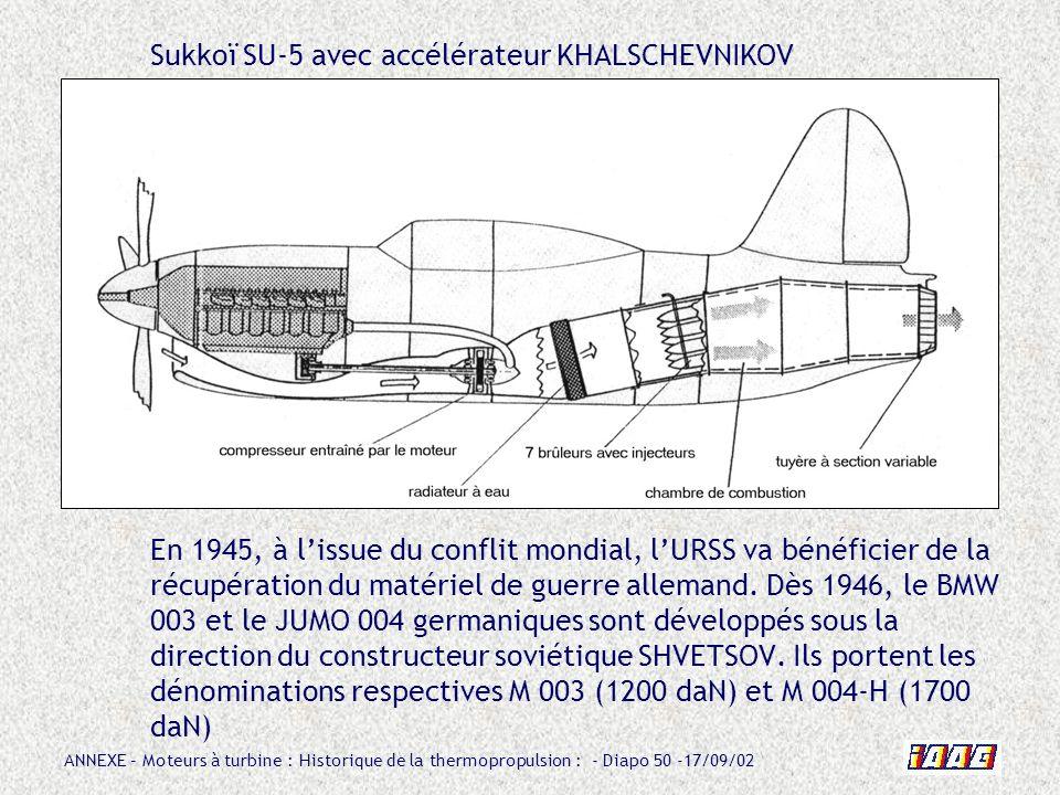 Sukkoï SU-5 avec accélérateur KHALSCHEVNIKOV En 1945, à l'issue du conflit mondial, l'URSS va bénéficier de la récupération du matériel de guerre allemand.