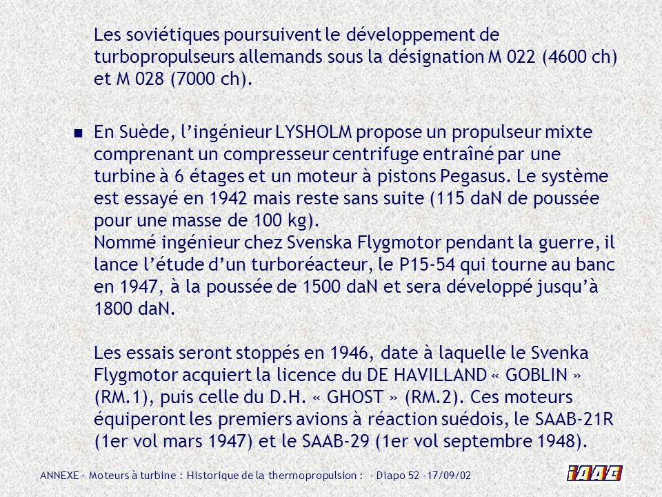 Les soviétiques poursuivent le développement de turbopropulseurs allemands sous la désignation M 022 (4600 ch) et M 028 (7000 ch).