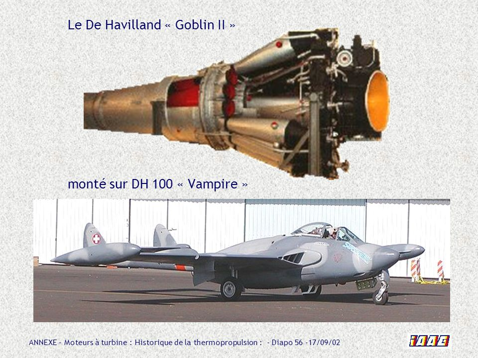 Le De Havilland « Goblin II » monté sur DH 100 « Vampire »