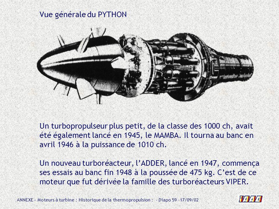 Vue générale du PYTHON Un turbopropulseur plus petit, de la classe des 1000 ch, avait été également lancé en 1945, le MAMBA.