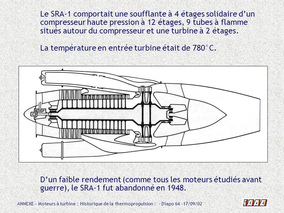Le SRA-1 comportait une soufflante à 4 étages solidaire d'un compresseur haute pression à 12 étages, 9 tubes à flamme situés autour du compresseur et une turbine à 2 étages. La température en entrée turbine était de 780°C.