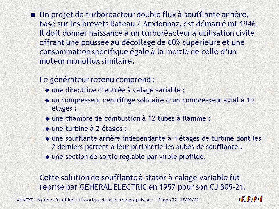 Un projet de turboréacteur double flux à soufflante arrière, basé sur les brevets Rateau / Anxionnaz, est démarré mi-1946. Il doit donner naissance à un turboréacteur à utilisation civile offrant une poussée au décollage de 60% supérieure et une consommation spécifique égale à la moitié de celle d'un moteur monoflux similaire. Le générateur retenu comprend :