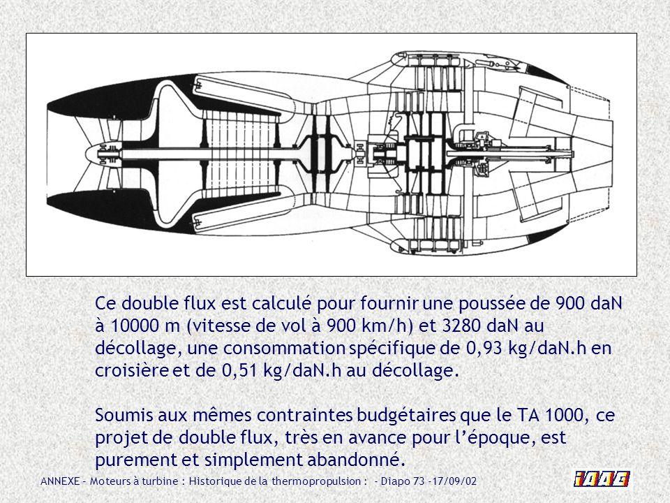 Ce double flux est calculé pour fournir une poussée de 900 daN à 10000 m (vitesse de vol à 900 km/h) et 3280 daN au décollage, une consommation spécifique de 0,93 kg/daN.h en croisière et de 0,51 kg/daN.h au décollage.