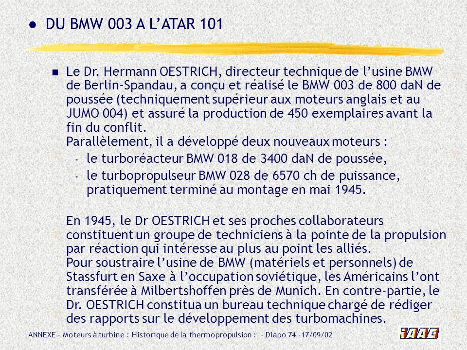 DU BMW 003 A L'ATAR 101