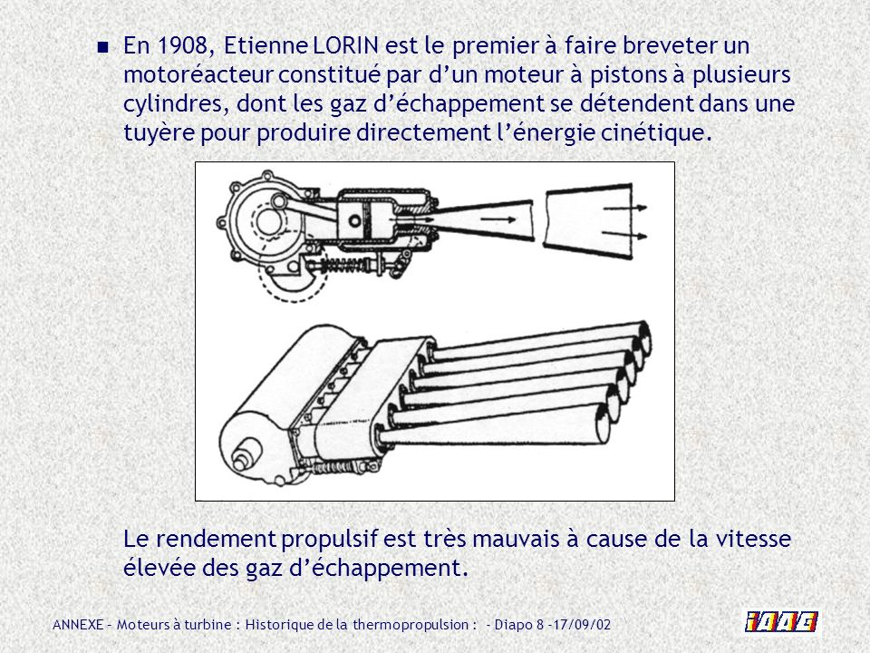 En 1908, Etienne LORIN est le premier à faire breveter un motoréacteur constitué par d'un moteur à pistons à plusieurs cylindres, dont les gaz d'échappement se détendent dans une tuyère pour produire directement l'énergie cinétique.