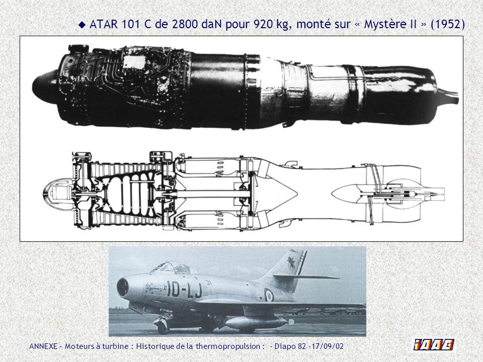 ATAR 101 C de 2800 daN pour 920 kg, monté sur « Mystère II » (1952)