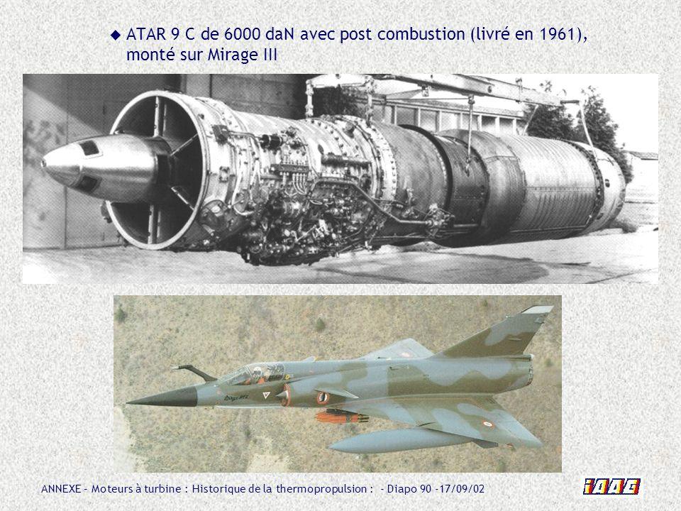 ATAR 9 C de 6000 daN avec post combustion (livré en 1961), monté sur Mirage III