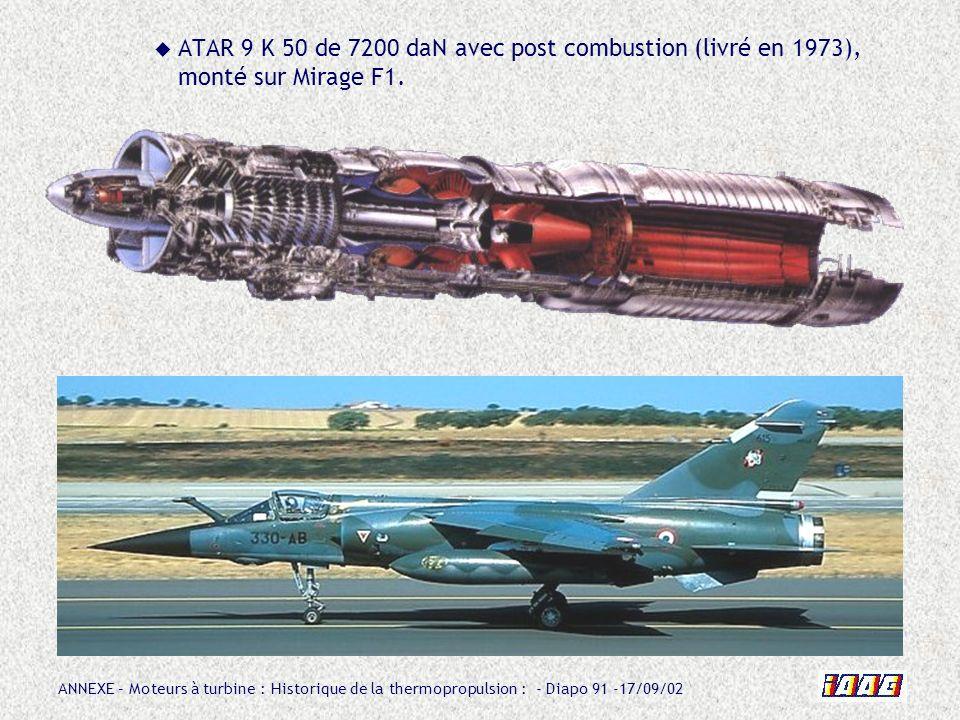 ATAR 9 K 50 de 7200 daN avec post combustion (livré en 1973), monté sur Mirage F1.