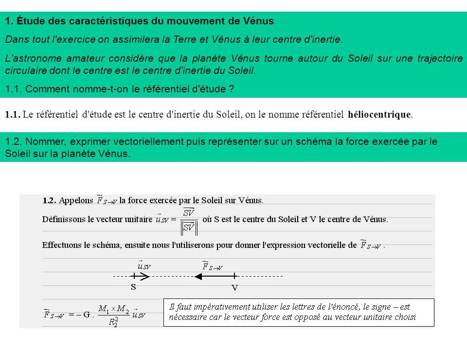 1. Étude des caractéristiques du mouvement de Vénus