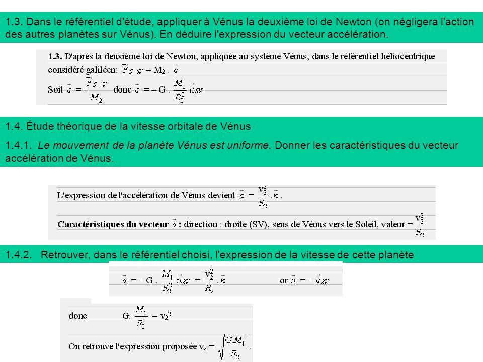 1.3. Dans le référentiel d étude, appliquer à Vénus la deuxième loi de Newton (on négligera l action des autres planètes sur Vénus). En déduire l expression du vecteur accélération.