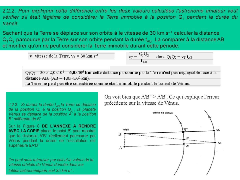 2.2.2. Pour expliquer cette différence entre les deux valeurs calculées l astronome amateur veut vérifier s il était légitime de considérer la Terre immobile à la position Q1 pendant la durée du transit.