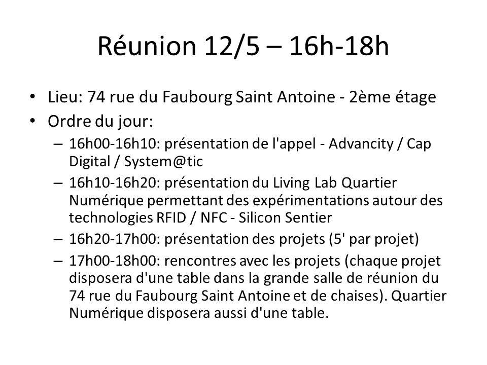 Réunion 12/5 – 16h-18h Lieu: 74 rue du Faubourg Saint Antoine - 2ème étage. Ordre du jour: