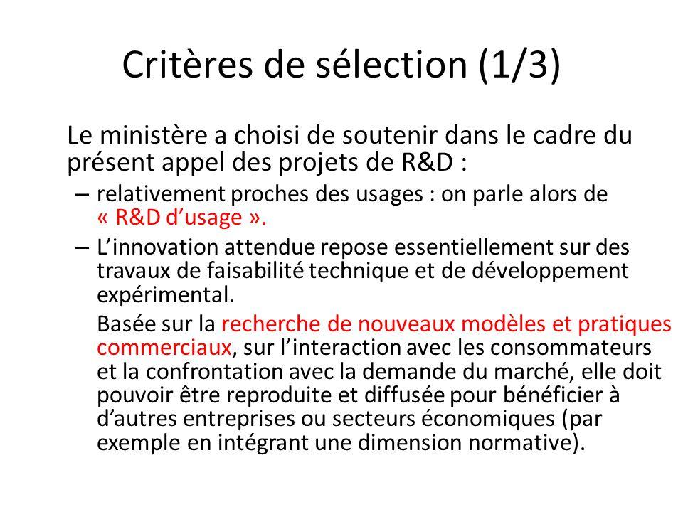 Critères de sélection (1/3)