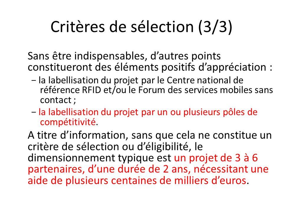 Critères de sélection (3/3)