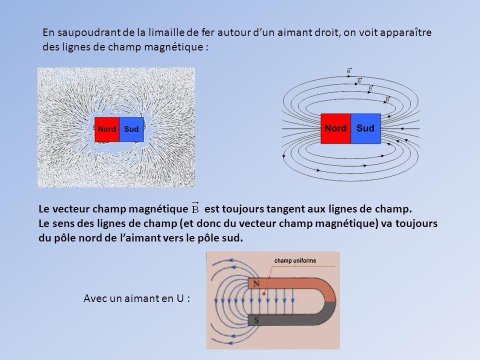 En saupoudrant de la limaille de fer autour d'un aimant droit, on voit apparaître des lignes de champ magnétique :