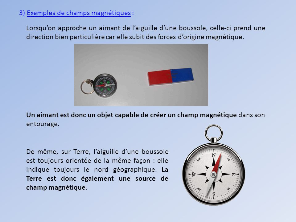 3) Exemples de champs magnétiques :