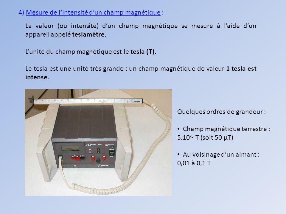 4) Mesure de l'intensité d'un champ magnétique :