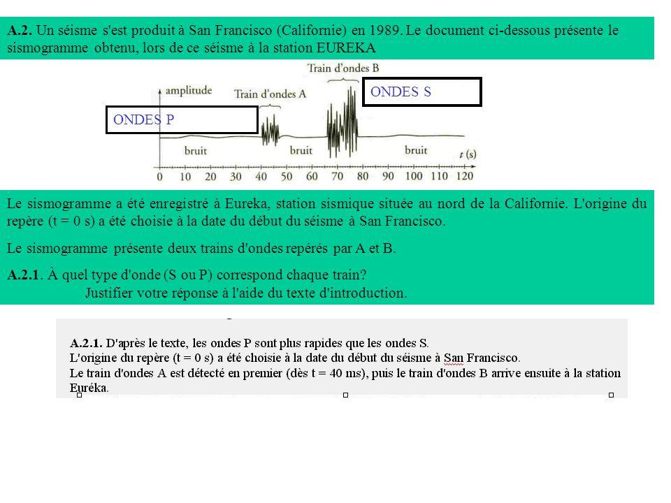 A. 2. Un séisme s est produit à San Francisco (Californie) en 1989