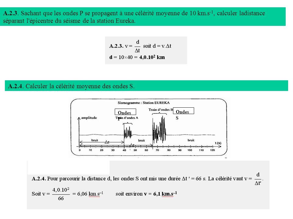 A.2.4. Calculer la célérité moyenne des ondes S.