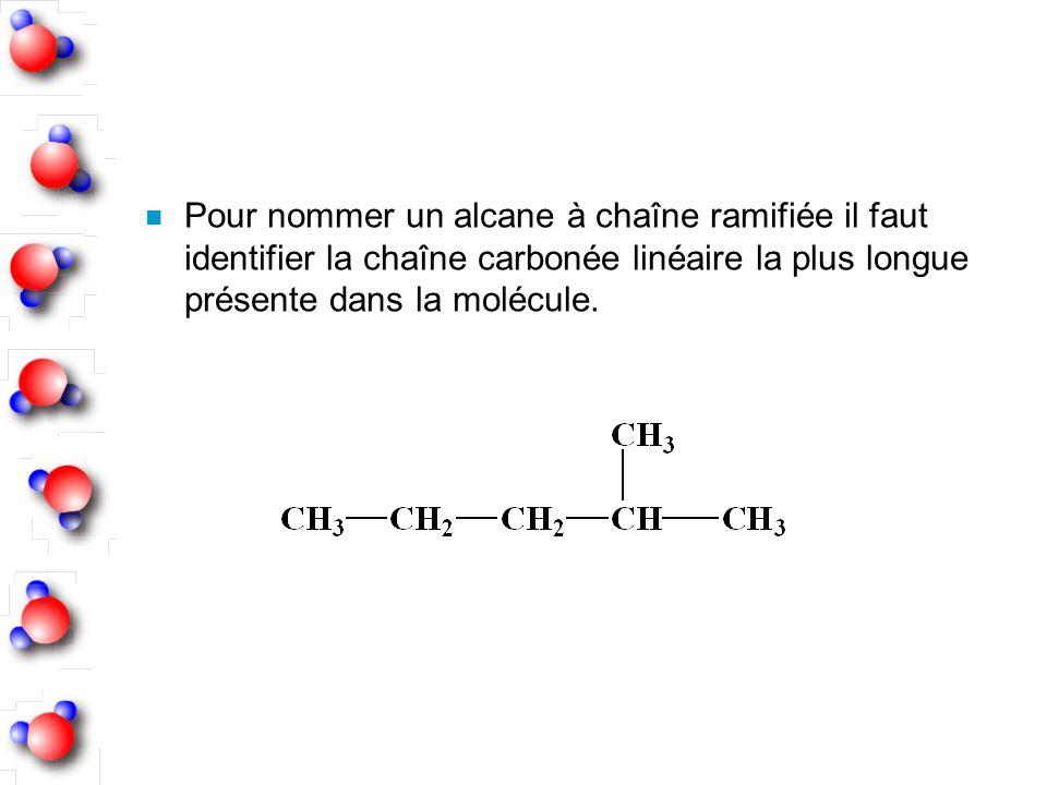 Pour nommer un alcane à chaîne ramifiée il faut identifier la chaîne carbonée linéaire la plus longue présente dans la molécule.