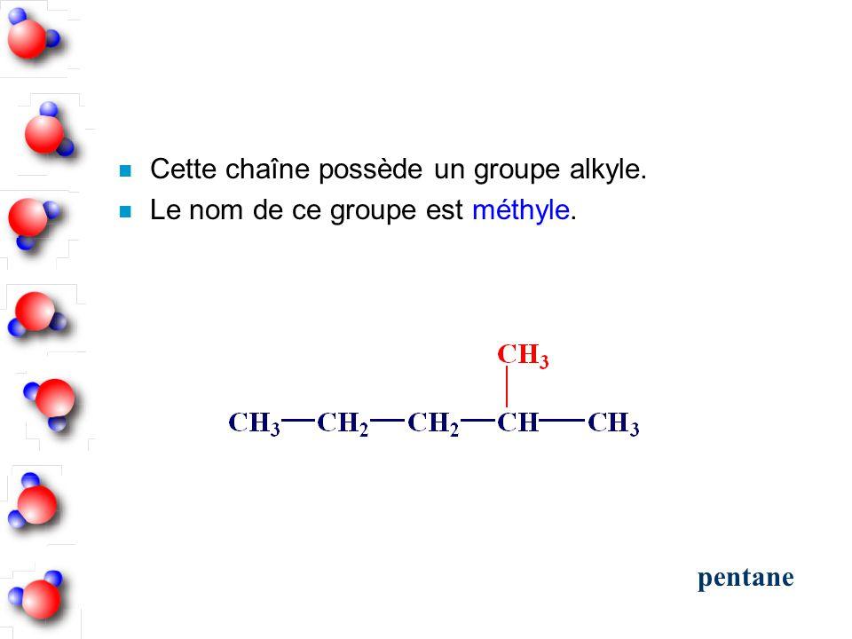 Cette chaîne possède un groupe alkyle.