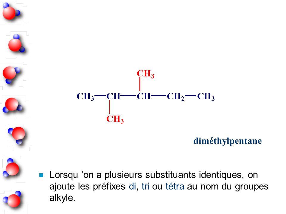 diméthylpentane Lorsqu 'on a plusieurs substituants identiques, on ajoute les préfixes di, tri ou tétra au nom du groupes alkyle.