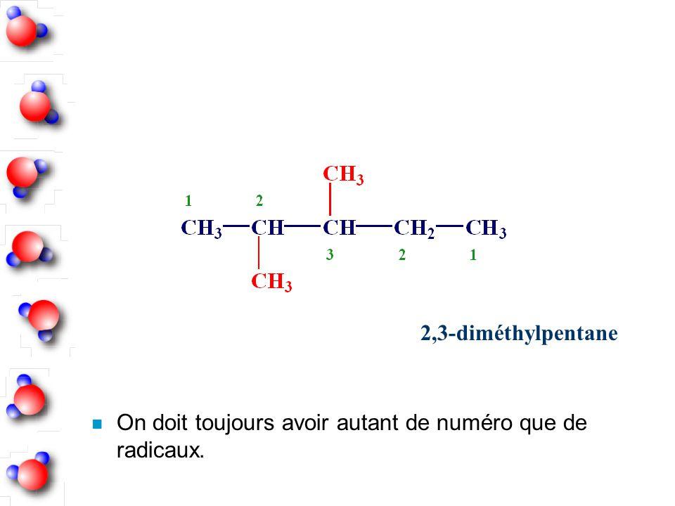 2,3-diméthylpentane On doit toujours avoir autant de numéro que de radicaux.