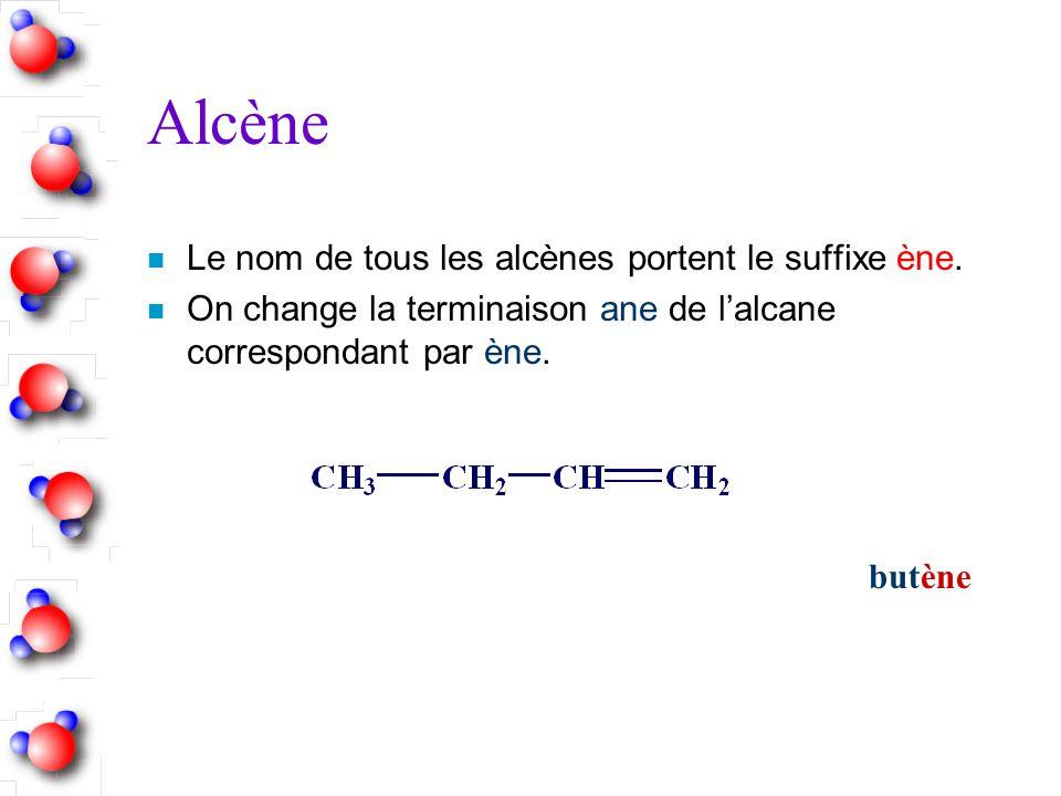 Alcène Le nom de tous les alcènes portent le suffixe ène.