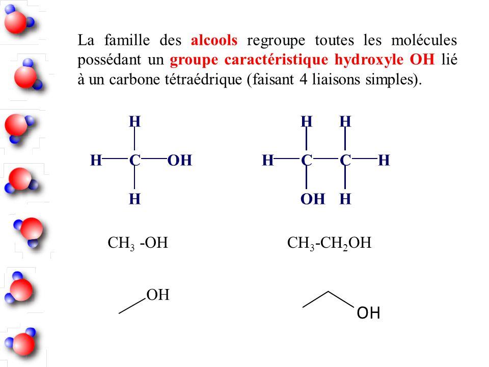 La famille des alcools regroupe toutes les molécules possédant un groupe caractéristique hydroxyle OH lié à un carbone tétraédrique (faisant 4 liaisons simples).
